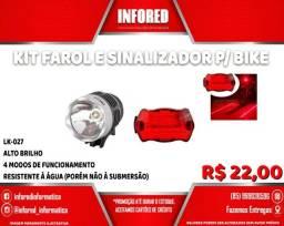 Título do anúncio: Kit Farol e Sinalizador para Bike LK-027 - R$22,00