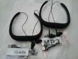 2 Fones Quanta Qtmhp2000 8G Mp3 Usb Fm Preto