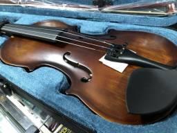 Violino envelhecido 4/4 novo com breu, arco e estojo