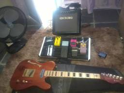 Guitarra pedais e cubo