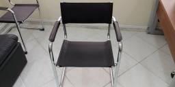 Cadeira escritório cromada couro