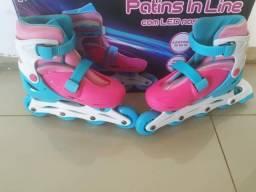 Patins Infantil Com Led 4 Rodas In-line Feminino 32-35