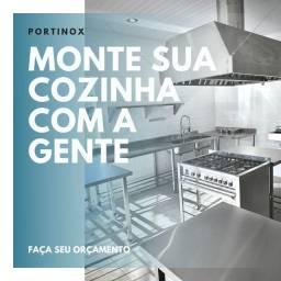 Cozinha industrial sob medida - pia / mesa / coifa / geladeira