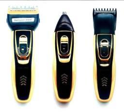 Máquina de cortar cabelo completa 3 em 1 da pra limpar nariz ,cabelo e barba