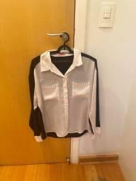 Camisa em cetim preta e branca
