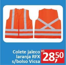 Colete Jaleco laranja Refletivo s/bolso - Vicsa - Promoção R$ 28,50