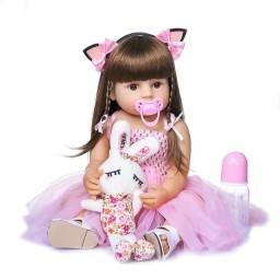 Título do anúncio: Boneca Bebê Reborn Menina de Silicone 48cm Olhos Castanhos