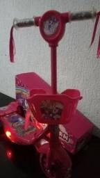 Patinet Infantil 3rodas Triciculo Rosa Scooters Luz/sons cestinha lol ou unicornio