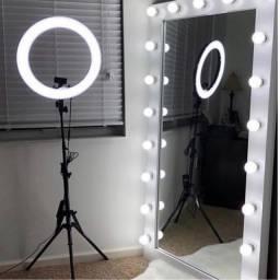 Título do anúncio: Ring Light Led Completo Iluminador Portátil 26cm Tripé 360º
