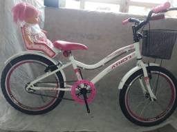 Título do anúncio: Bicicleta aro 20 infantil com caderinha de boneca . Levamos até vc leia o anúncio