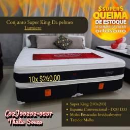 Título do anúncio: Cama Super King Lumiere Pelmex Molas Ensacadas/D-33,D-28..Fibra de Bamboo+frete grátis