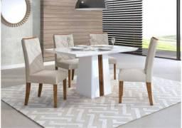 Título do anúncio: Mesa Italia 4 Cadeiras com tampo de madeira, chanfrado com vidro - Entrega Imediata!