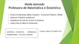 Título do anúncio: Aulas de Matemática e Estatística