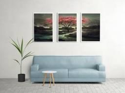 Quadro Cerejeira Oriental Trio Lindo Sala Quarto Escritório