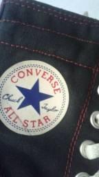 All Star cano alto preto e vermelho usado 36