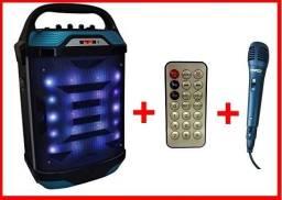 Caixa de Som Karaoq Recarregável Bluetooth Leds Rítmicos /Microfone e controle Remoto
