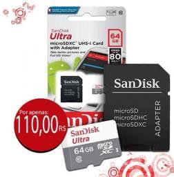Cartão Micro Sd 64gb Ultra Classe10 Sandisk Original 80mb/s