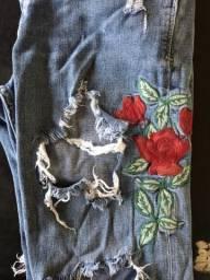 Calça bordada Zara TAM 38