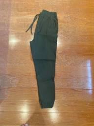 Calça feminina casual verde escura tamanho M nova