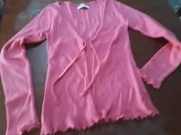 Casaco rosa de lã. Marca Tok. Tamanho P