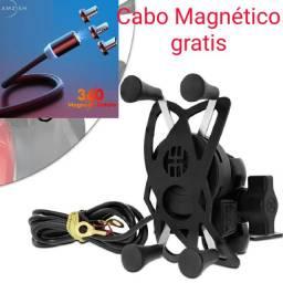Suporte de celular+ tomada usb+ cabo magnético entrega grátis/ em até 12 sem juros/