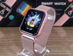 Título do anúncio: NOVO - Smartwatch P80S Rosa e Preto com 2 Pulseiras - Brusque