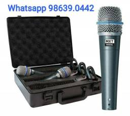 Kit 3 Microfones + Maleta + cachimbos Beta 57 (Novo, aceito cartão)