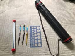 Kit desenho técnico - tubo extensível, escalimetro, gabarito círculos e lapiseiras