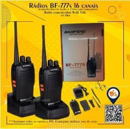 Título do anúncio: Par de Rádio comunicador HT BF777s 2 a 5km 16 canais + Fone de ouvido (novos)