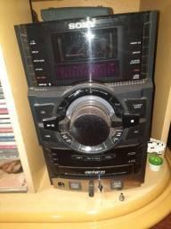 Som sony 3cd usb radio 2 caixas