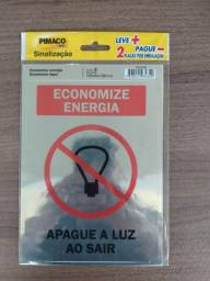 Título do anúncio: Placas de Sinalização   Economize energia - Economize água   Autoadesiva