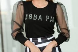 Blusa de manga bufante feminina/ moda cristã