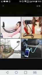 Suporte articulado celular cama mesa pescoço carro
