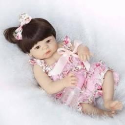 Bebê Reborn Menina Morena Silicone 55cm