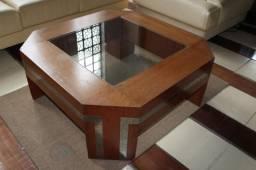 Mesa de Centro em Madeira Maciça Marrom 41cm x 100cm x 100cm