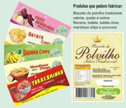 Pingadeira de biscoito Polvilho completa com embalagem, DVD, Banana Chips, Puruca