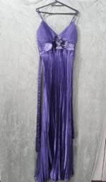 Vestido Festa - Drapeado - Cor (Roxo/ Lilas)