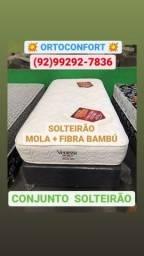Título do anúncio: CAma/) SOLTEIRÃO VENEZA FIBRA BAMBÚ MOLAS
