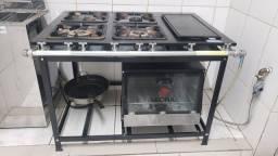 Fogão com forno e chapa bifeteira