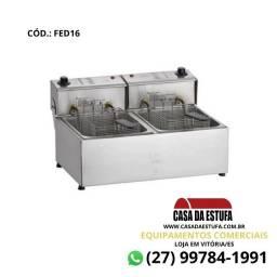 Fritadeira Elétrica Edanca Aço Inox 16 Lts Profissional Duas Cubas - FED16