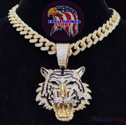 Título do anúncio: CORRENTE CUBANA CRAVEJADA +PINGENTE TIGER