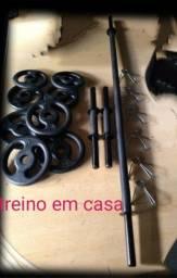 Título do anúncio: kit novo barras e anilhas
