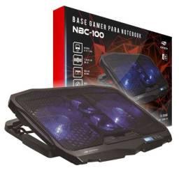 base notebook gamer c3tech nbc-100bk c/ 4 cooler led azul display lcd - ananindeua aurá