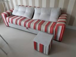 Título do anúncio: Sofá cama 3 lugares + puf