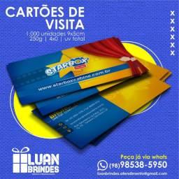 Cartões de Visita 9x5cm, 250g, 4x0