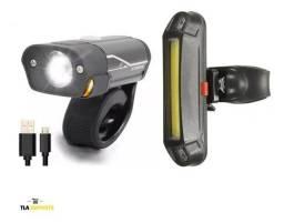 Kit Bike Farol LED e Lanterna LED Sinalizador Recarregável Usb Oferta<br><br><br>