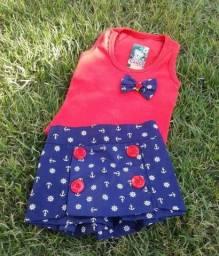 Conjuntinho infantil em algodão. Regata + Short saia