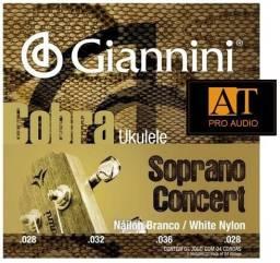 Encordoamento Ukulele Soprano / Concert Giannini Cobra Geuksc 4 cordas Loja AT Proaudio!