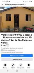2 casas e 1 kitnet por 60.000 em São Jacinto 7 km de São Roque do Canaã