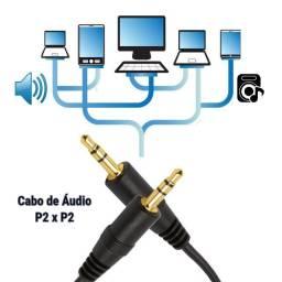 Cabo de Áudio Auxiliar 1.5m P2 x P2 3.5mm Estéreo Pontas Douradas - Loja Natan Abreu